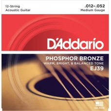D'Addario EJ39 Phosphor Bronze 12-str. Medium