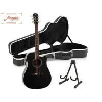 Morgan W310SCE Sort Gitarpakke m/stativ & koffert