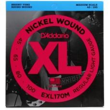 D'Addario EXL170M Light/Medium Scale, 045 065 080 100.