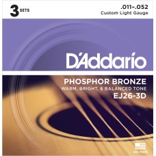 D'Addario EJ26 Custom Light. 3-pack