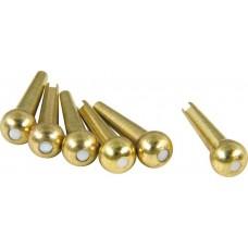 D'Andrea TP4M Acoustic Guitar Tone Pins Brass Bridge Pin Set w/ Mother of Pearl dot